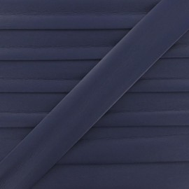 Imitation leather bias binding, 25 mm - purple navy