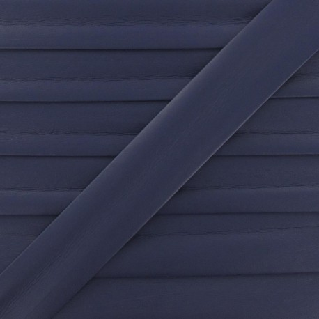 Imitation leather bias binding, 25 mm - purple navy