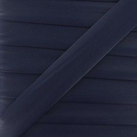 Imitation leather bias binding, 25 mm - navy blue