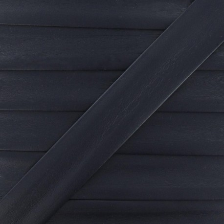 Imitation leather bias binding, 25 mm - midnight blue