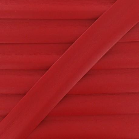Imitation leather bias binding, 25 mm - red