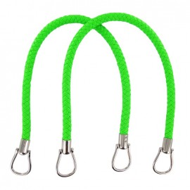 Imitation leather braided bag-handles - fluorescent green