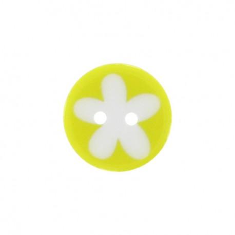 Bouton polyester fleur enfant jaune