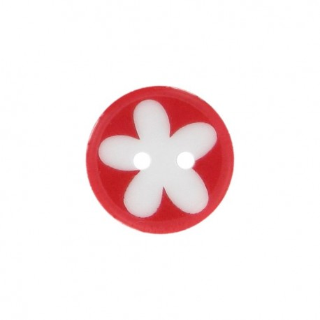 Bouton polyester fleur enfant rouge