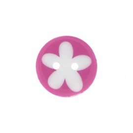 Polyester button, child flower - fuchsia/white