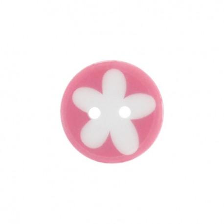 Bouton polyester fleur enfant rose