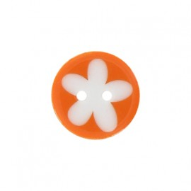 Polyester button, child flower - orange
