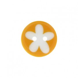 Polyester button, child flower - mandarin