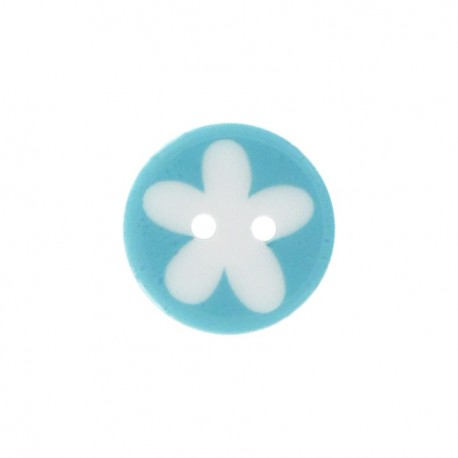 Bouton polyester fleur enfant turquoise
