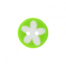 Polyester button, child flower - lime/white