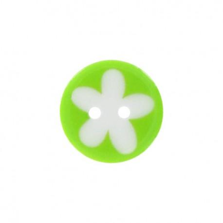 Bouton polyester fleur enfant vert anis