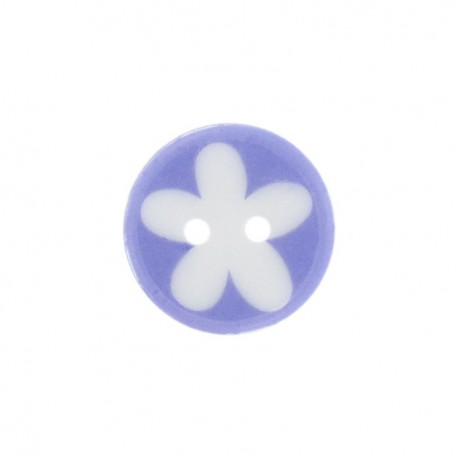 Bouton polyester fleur enfant parme
