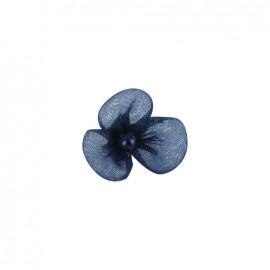 Petite fleur voile à coller/coudre bleu nuit