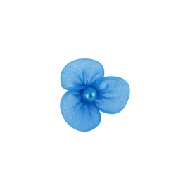 Petite fleur voile à coller/coudre bleu