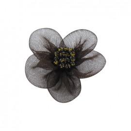 Fleur voile à coller/coudre cacao