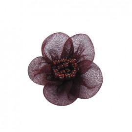 Fleur voile à coller/coudre grenat