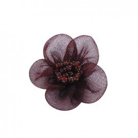 Net Flower to glue/to sew - garnet red