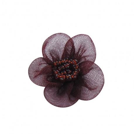 Net Flower to glue/to sew - garnet red