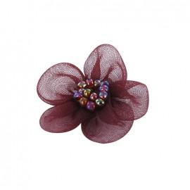 Fleur voile à coller/coudre pourpre