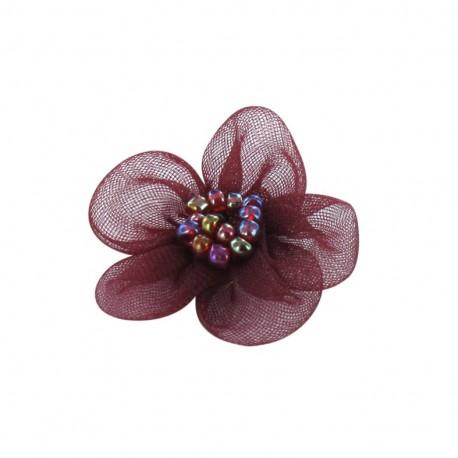 Net Flower to glue/to sew - crimson red