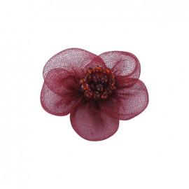 Fleur voile à coller/coudre bordeaux