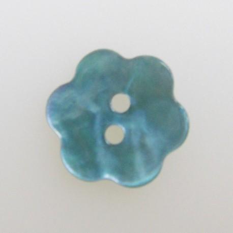 Bouton fleur nacre bleu clair