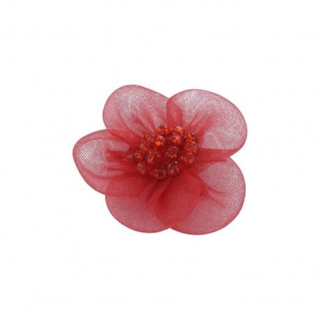 Fleur voile à coller/coudre rouge