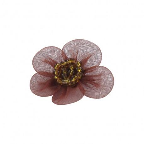 Net Flower to glue/to sew - brick-red