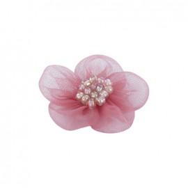 Fleur voile à coller/coudre rose