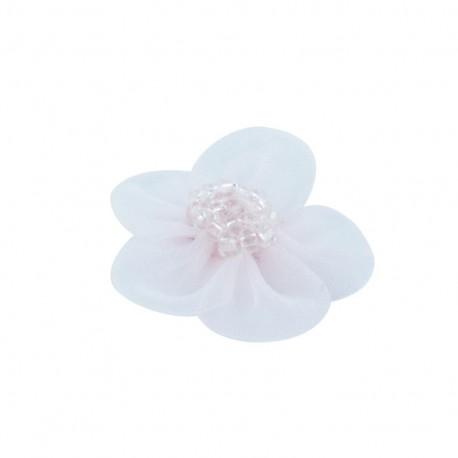 Fleur voile à coller/coudre rose dragée