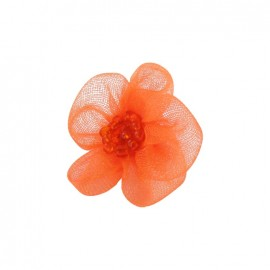 Net Flower to glue/to sew - orange