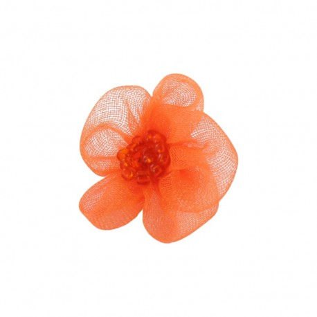 Net Flower to glue/to sew - orange