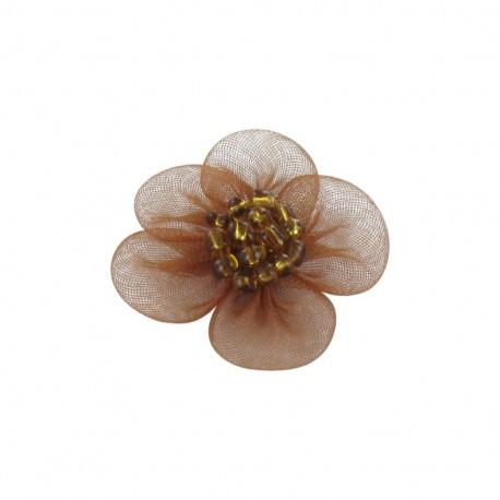 Fleur voile à coller/coudre marron