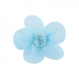 Fleur voile à coller/coudre bleu ciel
