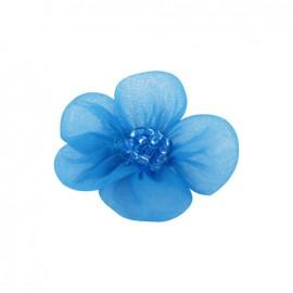 Fleur voile à coller/coudre bleu azur