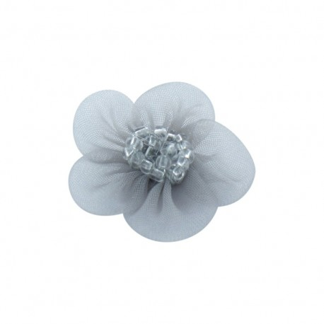 Net Flower to glue/to sew - pearl-grey