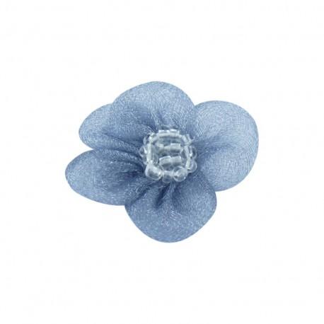 Fleur voile à coller/coudre bleu ardoise