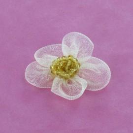 Fleur voile à coller/coudre beige clair
