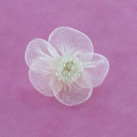 Fleur voile à coller/coudre écru
