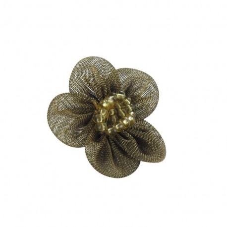 Fleur voile à coller/coudre mordoré