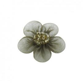 Fleur voile à coller/coudre kaki