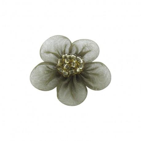 Net Flower to glue/to sew - khaki