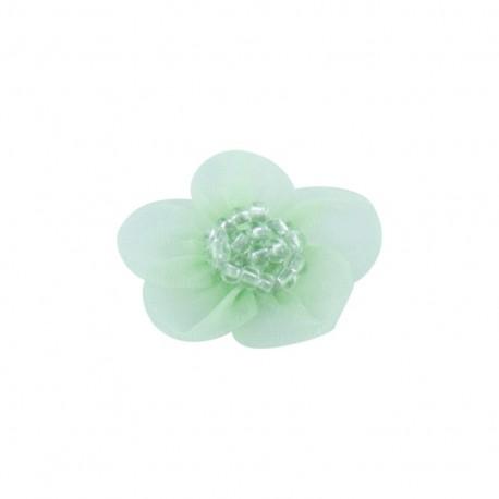 Fleur voile à coller/coudre menthe glacée