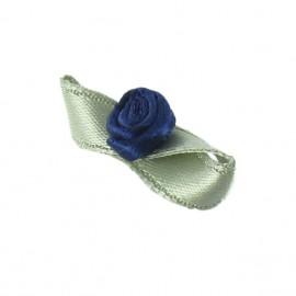 Fleur ruban papillon à coller/coudre bleu nuit