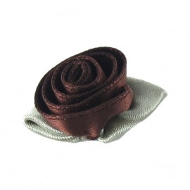 Rose Ribbon Flower to glue/to sew - brown