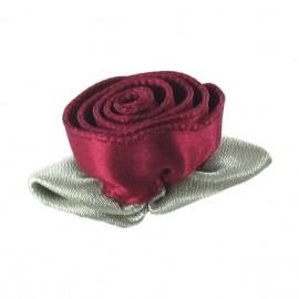 Fleur ruban rose à coller/coudre rouge carmin