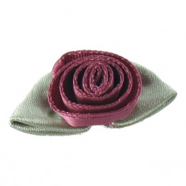 ♥ Fleur ruban rose à coller/coudre prune clair ♥