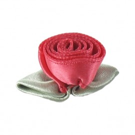 Rose Ribbon Flower to glue/to sew - ruby red