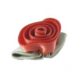 Fleur ruban rose à coller/coudre rose nacarat