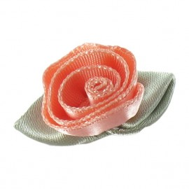 Fleur ruban rose à coller/coudre rose saumon